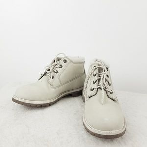 Timberland waterproof off white booties